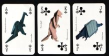 Collectable playing cards. Bianco origami dinosaurs